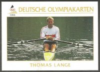 cc ger 1996 deutsche olympiakarten no. 42 thomas lange olympic m1x champion 1988 and 1992 m1x gold medal winner wrc 1987 1989 1991 m2x gold medal winner wrc 1985 front