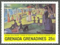 stamp grn grenadines 1981 jan. 25th paintings mi 432 g. seurat sunday afternoon 1885