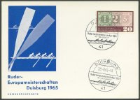 illustrated card ger 1965 erc duisburg with pm aug. 28th logo