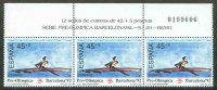 stamp esp 1991 march 7th og barcelona mi 2982 painting of 1x strip of three with related text in upper margin