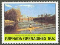 stamp grn grenadines 1981 jan. 25th paintings t. eakins max schmitt in a single scull
