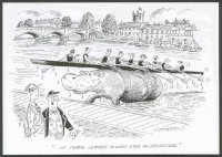 pc gbr henley rowing cartoons by b. cookson leander 8 on back of hippopotamus