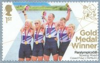 stamp gbr 2012 sept. 3rd self adhesive paralympic games london ltamix 4 gold medal for p. relph n. riches j. roe d. smith cox l. van den broecke gbr