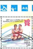 Stamp IND 2012 July 25th OG London with pictogram in margin