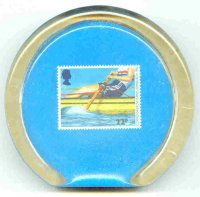 paper weight gbr 1986 with stamp gbr july 15th mi 1077 commenwealth games