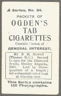 CC GBR 1901 OGDENS CIGARETTES A series No. 94 Mr. B. H. Howell Thames RC 2nd place in the Diamont Sculls at Henley Regatta 1900 reverse