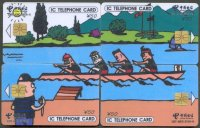 tc chn 2006 telecom cnt adic 331 puzzle of four cards drawing of 4 crew with coach on lthe shore