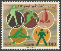 Stamp ALG 1980 June 26th OG Moscow with Olympic pictogram No. 5 reversed MI 754 YV 715