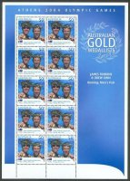 stamp aus 2004 og athens complete sheet of 10 tomkins ginn winners of the 2 event