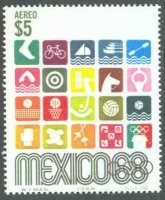 stamp mex 1968 oct. 12th og mexico mi 1291 pictograms