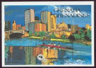stamp grn grenadines 1984 sept. 21st ss ausipex yarra river melbourne with 4
