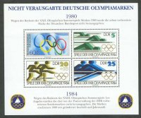 cinderella ger 1980 gdr 1984 designs of unissued olympic stamps philex bl. a 1