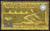 stamp geq 1972 oct. 30th og munich mi b 106 gold foil 4 race with green imprint gold medal 4 rfa 800 issued