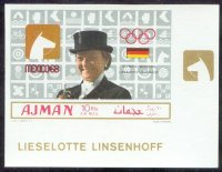 stamp ajman 1969 march 1st og mexico gold medal winners mi 453 b imperforated l. linsenhoff pictogram