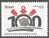 Stamp BRA 2010 Sport Club Corinthians Paulista centenary personalized issue