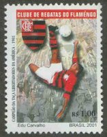 stamp bra 2001 nov. 23rd mi 3208 clube de regatas do flamengo rio de janeiro mi 3208 club emblem soccer player dressed in club colours