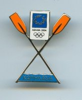 pin gre og athens 2004 two crossed oars with orange blades logo of the games
