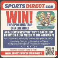 Beer mat GBR SPORTSDIRECT Steve Redgrave Matthew Pinsent three times M2 Olympic gold medal winners 1988 1992 1996 reverse