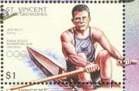stamp vin 1996 july 19th og atlanta mi 3606 jack kelly olympic champion 1x 1920 and 1924 2x 1924 with p. casdtello