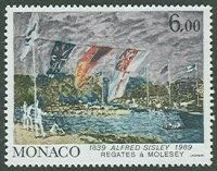 stamp mon 1989 sept. 7th painting a. sisley regates a molesey mi 1932