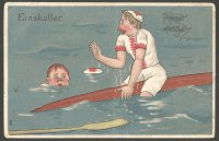 PC GER comic drawing capsized sculler