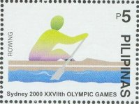 stamp phi 2000 sept. 30th mi 3196 og sydney coloured silhouette of sweep rower
