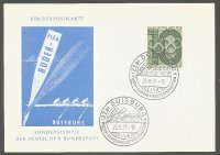 illustrated card ger 1957 erc duisburg with pm aug. 25th