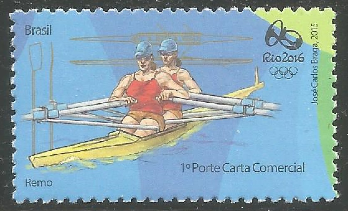 Stamp BRA 2015 March 24th OG Rio de Janeiro 2016 blue background