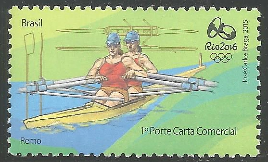 Stamp BRA 2015 March 24th OG Rio de Janeiro 2016 green background