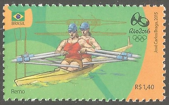 Stamp BRA 2015 OG Rio de Janeiro 2016 green orange background